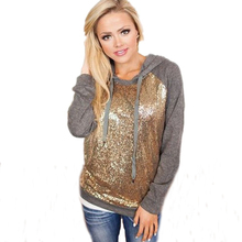 XL Autumn New Women Sportswear Cotton Hoodies Bling Gold Sequin Patchwork Sweatshirts Loose Pullovers Tracksuit For Women(China)
