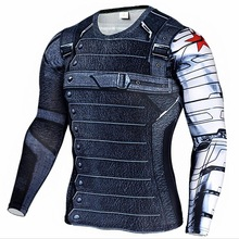 New Superhero Winter Soldier Bucky Anime 3D T Shirt Fitness Men Crossfit T-Shirt Long Sleeve Compression Shirt(China)
