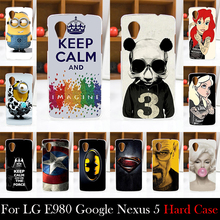 For LG E980 Google Nexus 5 Hard Plastic Mobile Phone Cover Case DIY Color Paitn Cellphone Bag Shell  Shipping Free