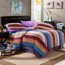 CHAUSUB Cotton QUILT Set 4PCS Duvet Cover Mediterranean Stripes Bedspread Quilts Pillowcase Coverlet KING Quilted Bedding Set