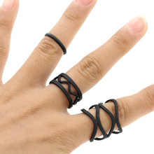 3Pcs/set Punk Retro Personality Multilayer Hollow Exaggerated Geometry Black Metal Cross Rings Band Knuckle Ring Set For Women(China)