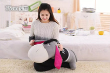 new creative plush donkey toy stuffed lying donkey pillow doll gift about 75cm