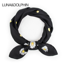 Luna&Dolphin Women Square Scarf 70*70cm Yellow White Daisy Four Season Chiffon Silk Scarves Black Office Lady Headbands Bandana(China)