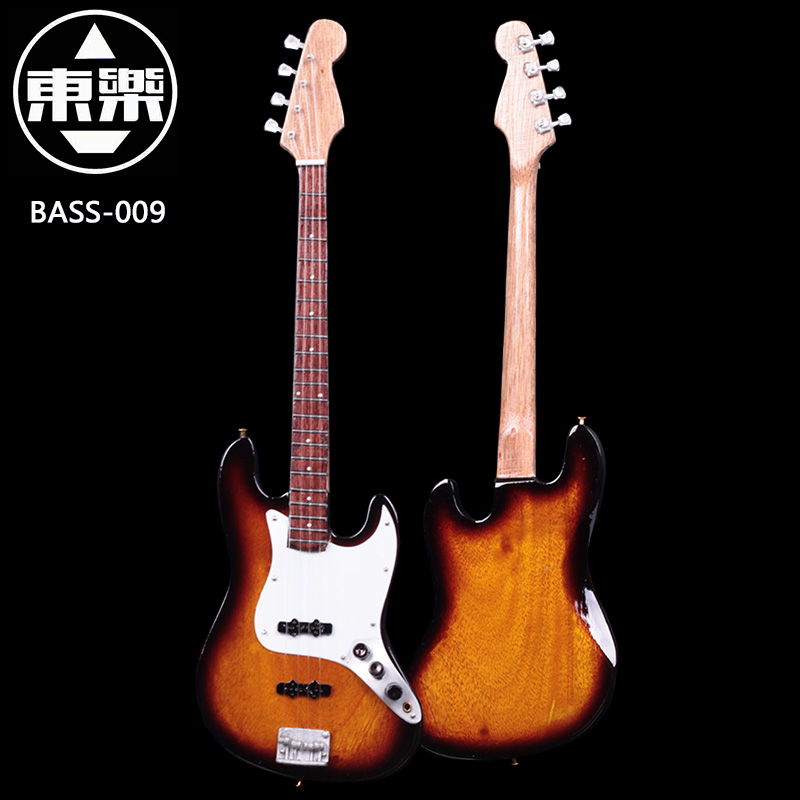 Wooden Handcrafted Miniature Guitar Model Bass-009 Bass Guitar Display with Case and Stand (Not Actual Bass! for Display Only!)<br>