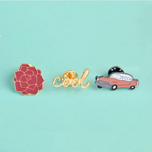 3pcs cool Classic Car Rose Flower Brooch Button Pins Coat T-shirt Jacket Pin for Bags Hats Cartoon Fashion Vintage Jewelry Gift