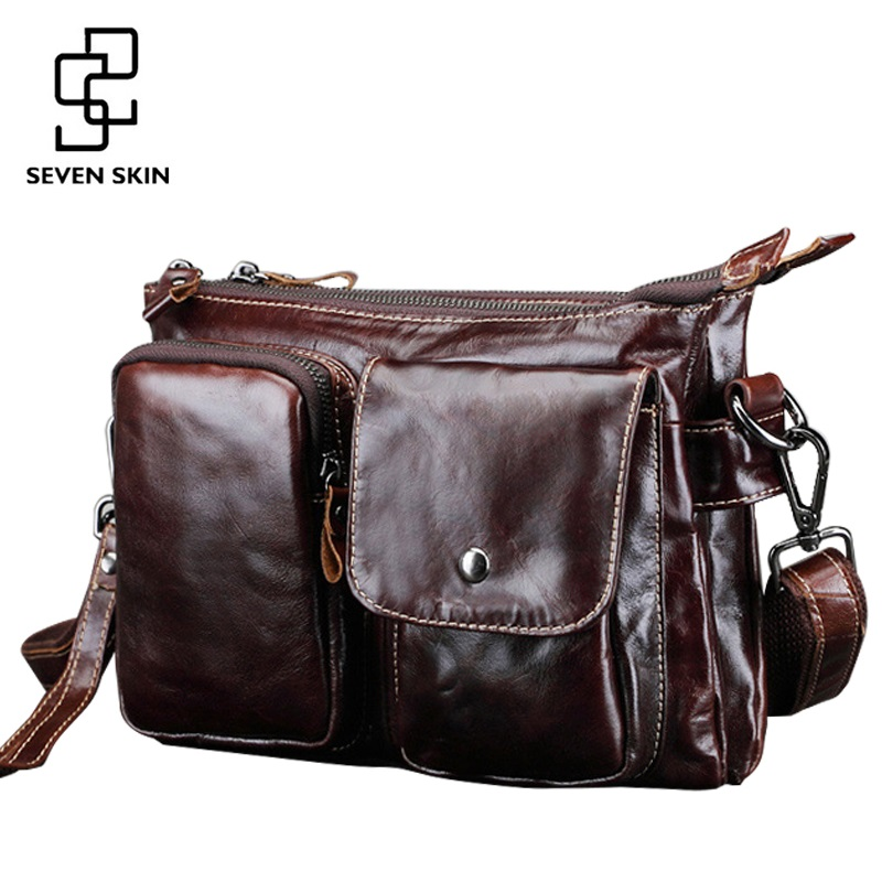 High Quality Mens Messenger Bag Male Genuine Cowhide Leather Crossbody Shoulder Bags Vintage Design Retro Briefcase Small Bag<br>