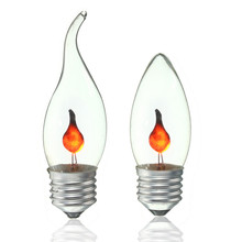 Smuxi 3W E27 LED Light Vintage Edison Bulb Energy Saving Fire Flickering Flame Candle Tail Chandelier Flicker Lamp AC220V(China)