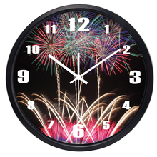 Fireworks Colorful Light In The Night Sky Wall Clock Home Decor Silent Room Decoration Clock