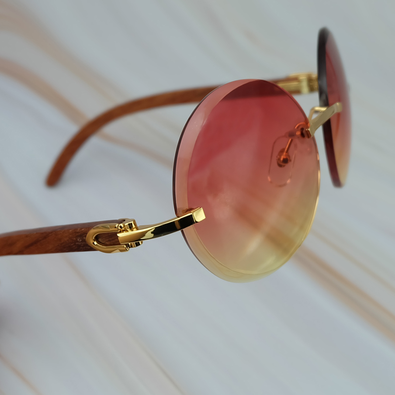 2018 Vintage Retro Big Rimless Frame Colorful Yellow Pink UV400 Protect Brand Designer Sunglasses For Men And Women Round Shades (3)