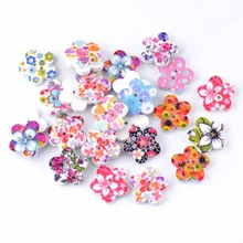 Free Shipping Retail 20Pcs Randomly Mixed Multicolor Flower 2 Holes Wood Painting Sewing Buttons Scrapbooking 17x17mm(China)