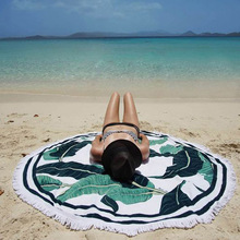 Round Circle Sandy Beach Towel Tassel Banana Leaf Printed Sunbath Yoga Blanket Tablecloth Bath Beach Towels YC866972
