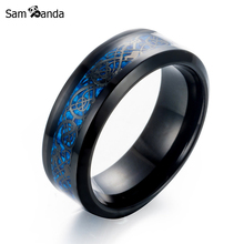 7 Colour New Arrival Titanium Steel Ring High-quality Black Color Gold Carbon Fiber Dragon Rotate Male Rings Mens Jewelry(China)
