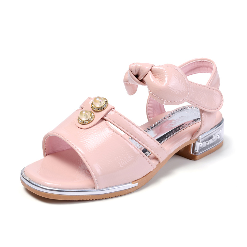 COZULMA Girls New Pearl Roman Sandals Shoes Kids Summer Princess Bow Ankle Strap Sandals Children Gladiator Shoes Size 27-37