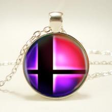Super Smash Bros Ball Pink And Black Pendant Fashion Necklace Pendants Sliver Vintage Necklace For Men Women Child Gift(China)