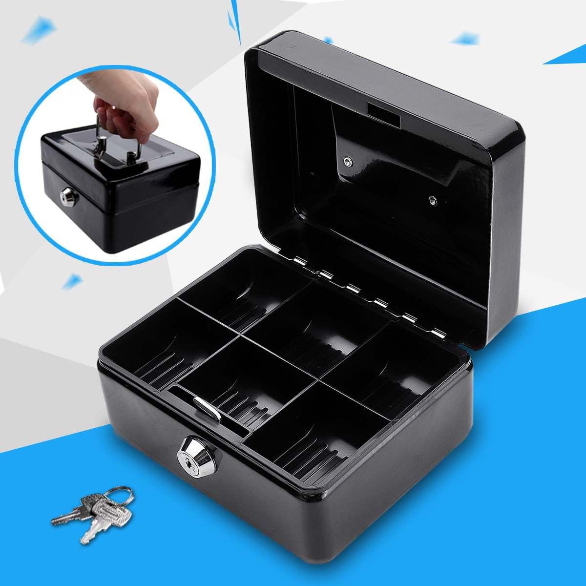 Portable Cash Box Money Organizer Key Lock Safety Storage5 Coin Trays Cover Free