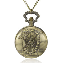 "2015 New Ferris Wheel Alloy Quartz Chain Pocket Watches Antique Bronze Pendant Necklace Pocket Watch Flat Round 31.1"";(China)"