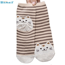 Womail Newly Design Cute Cartoon Cat Socks Striped Pattern Women Cotton Sock Winter Aug10 Drop Shipping Womail