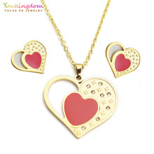 Yunkingdom fashion red heart titanium jewelry for women stainless steel  pendant necklace earring jewelry sets UE0168 af1f9e12d29b