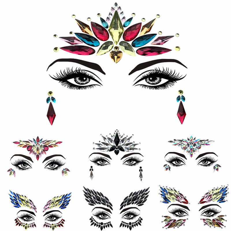 1 Sheet Handpicked Bohemia Tribal Style 3D Crystal Sticker Face And Eye  Jewels Forehead Stage Decoration 2f65cf0b0f54
