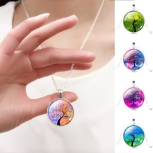Harajuku Style Illusion Tree of Life Glass Cabochon Pattern Pendant Necklace with Silver Color Necklace Chain for Women