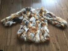 Women Real Genuine Natural Red Fox Fur Coat For Warm Winter  Free Shipping KFP313