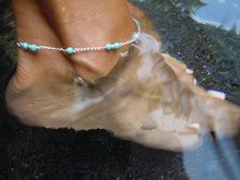 1Pc Unique Nice Stone Beads Silver Color Chain Anklet souvenir Ankle Bracelet Foot Jewelry Fast Free Shipping New Hot Selling(China)