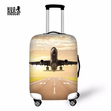 Travel Accessories Luggage Cover Airplane Design Cover For A Suitcase Waterproof Elastic Baggage Case Cover With Zipper(China)