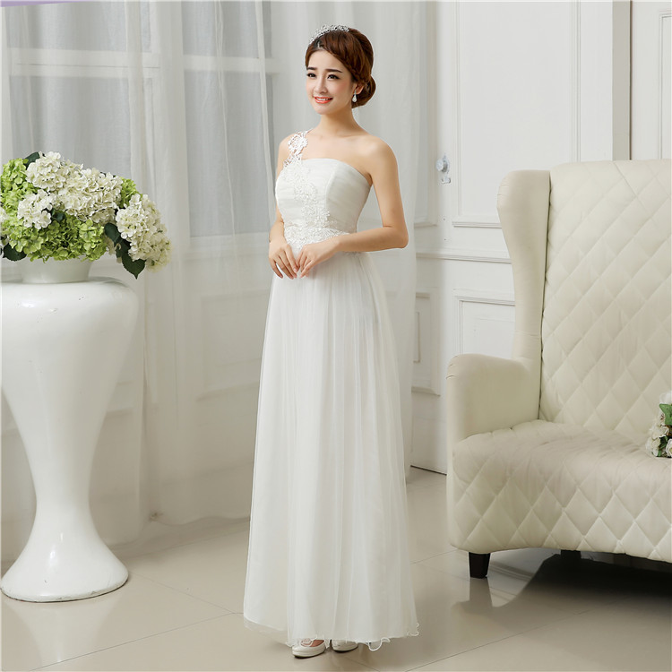 Fashion one shoulder flower applique formal long dresses for juniors white bridesmaid dress teenage wedding dresses for girls<br><br>Aliexpress