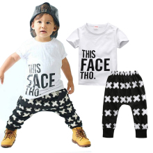 Kid Clothing Sets Toddler Kids Baby boy Summer Outfits Sports Clothes Letter T-shirt Tops+Harem Pants 2pcs Set(China)