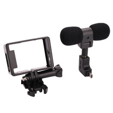 for Gopro Hero 3 3+ 4 Sports Camera Accessories Mini Stereo Microphone No Noise Mic + Protective Frame Case With Mount