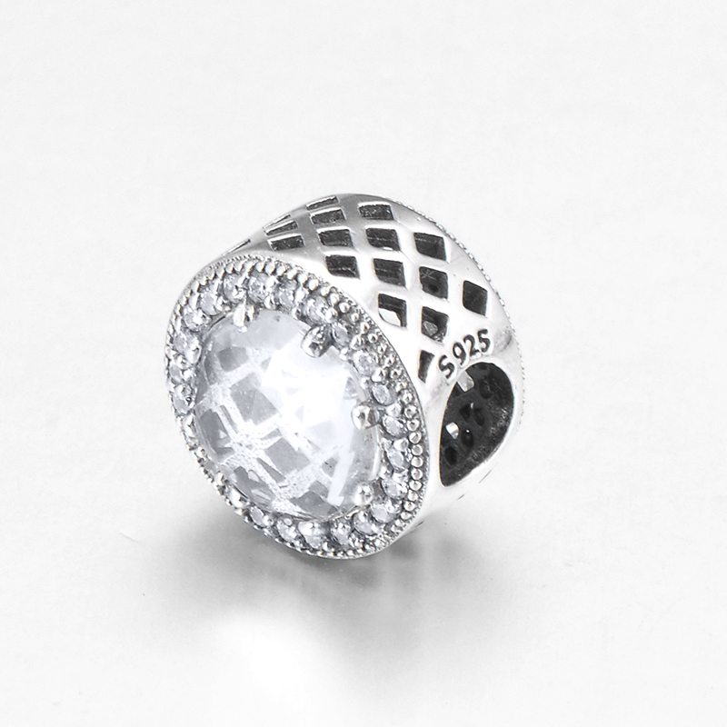 DIY gift fashion hollow out round 925 Sterling Silver clear CZ fine Beads Fit Original Pandora Charm Bracelet Jewelry making
