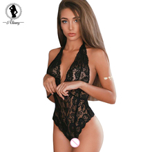 Buy ALINRY Sexy Lingerie Erotic Women Lace Bodysuit Teddy Costume Transparent Halter Deep V Teddies Underwear Sheer Porno Lenceria
