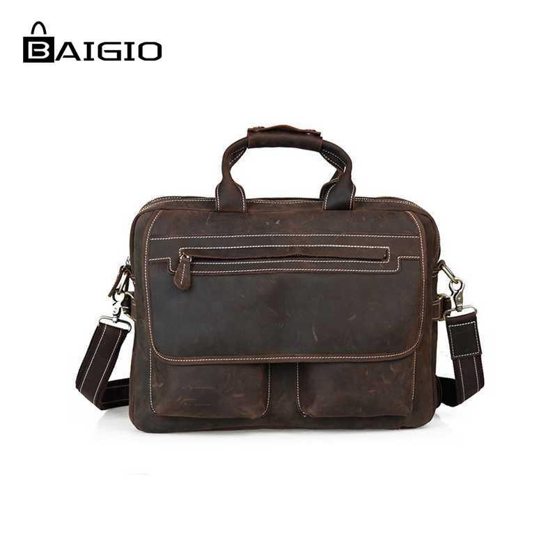 Baigio Leather Briefcase Bag For Men 15.6 Laptop Italian Leather Designer Men Messenger Bag Large Business Tote Shoulder Bag<br><br>Aliexpress
