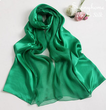 Shawls one piece hijab 100% satin silk scarf famous brand Green patchwork silk pashmina wedding party viscose Ethnic scarves(China)