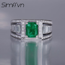 Simffvn Man 1.25CT Created Emerald Anniversary Wedding Ring 18K White Gold Accent Engagement Rings for Women Fine Jewelry