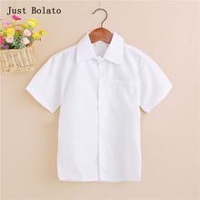 Brand Boy White Shirts Boys Mandarin Collar Shirt Children Solid Short Sleeve Summer Clothing Camisa Jeans Menino For 5~14Y(China)