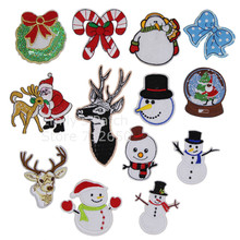 New arrival 10 pcs Christmas Series image Embroidered patches iron on cartoon Motif holiday decor Applique embroidery accessory(China)