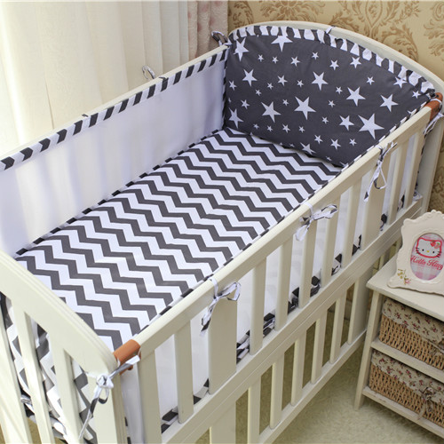6 pcs set baby crib bumper baby cot  bed protector Cotton Soft Anti-Collision baby Bedding pillowcase flat sheet Stripes stars<br>