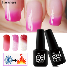 Paraness Colorful Foil Adhesive Gel Varnish 8ml lucky Chameleon Temperature Change Color Soak-off UV Nail Gel Polish(China)