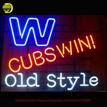 Cubs Win Old Style Logo Neon Sign Handcrafted Neon Bulbs Night Light Real Glass Tube Lamp Neon Bulb Flash light Iconic VD 17x14(China)