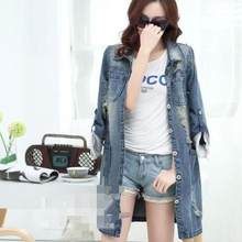 6d95cf0df17 Plus Size 5XL Denim Jacket Women 2018 Long Sleeve Jeans Coat Female Retro Ripped  Denim Jacket Tops WF322