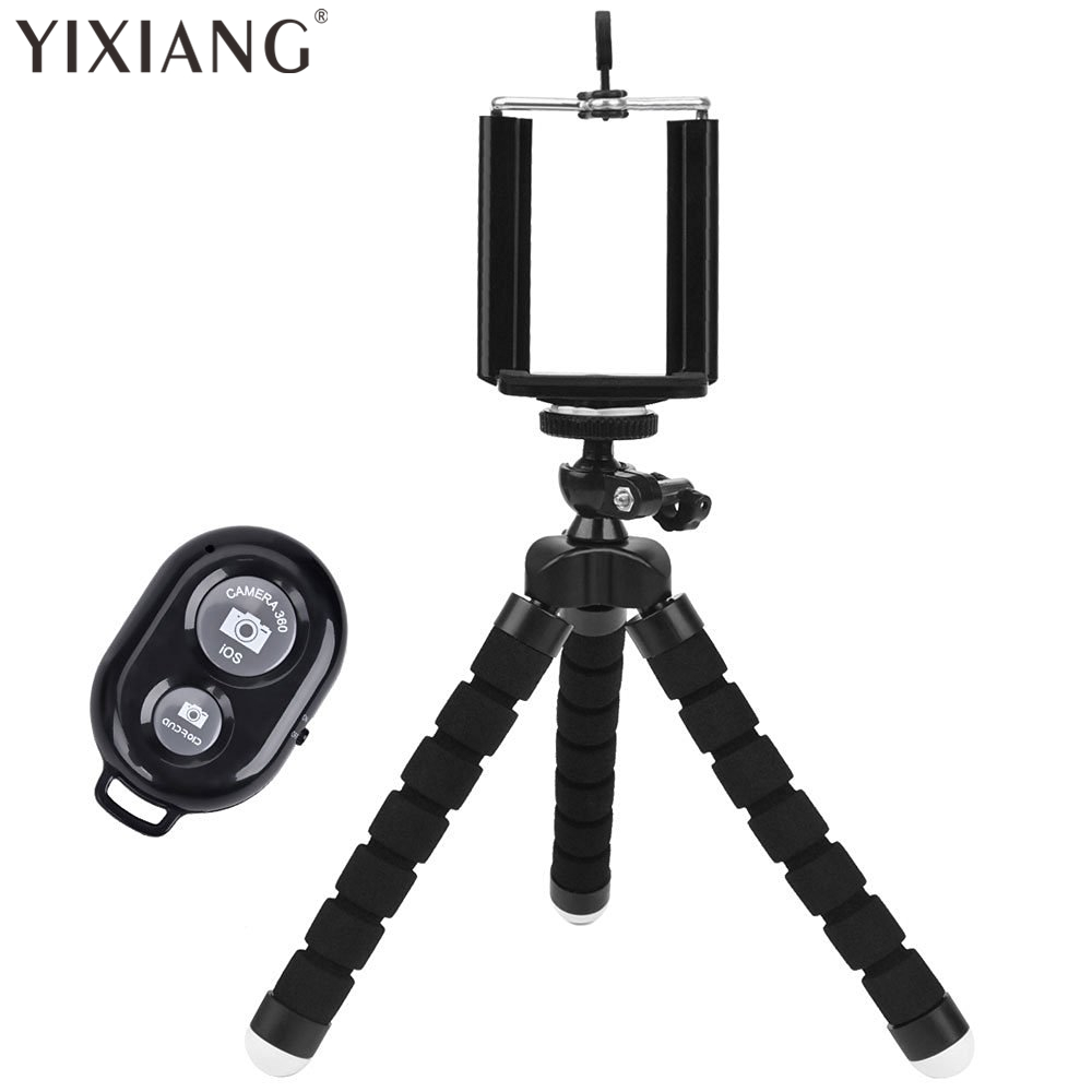 YIXIANG Universal Compact Tripod Stand – Remote Included – Flexible Octopus Cell Phone Camera Selfie Stick Tripod Mount
