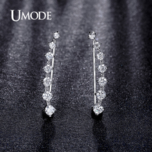 UMODE Four Prong Setting CZ Crystal White / Rose Gold Color Dipper Hook Stud Earrings Jewelry for Women Boucle D'oreille UE0197