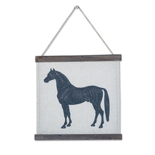Wood Framed Scroll Vintage Paintings Wall Art Horse Pattern Picture Home Decro Wall Hanging Retro Linen Wall Decor for Shop Pub