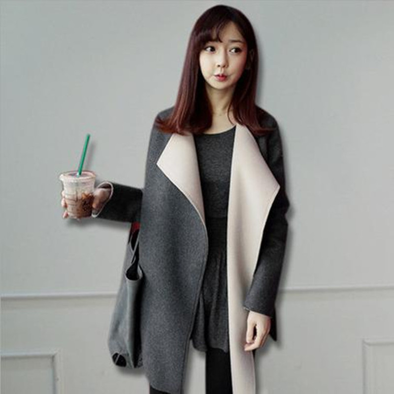 Pregnant latest autumn and winter fashion large lapel fitted jacket and long sections woolen coat maternity clothes<br>