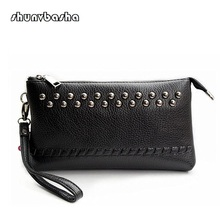 Head layer cowhide fashion lady handbags inclined shoulder bag tide female rivet leather leisure small bag
