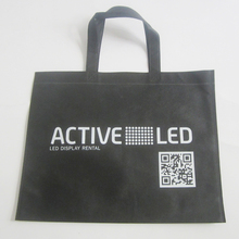 500pcs/lot non-woven fabric shopping bag with print,black shopping bag white logo with QR code,promotional items bags