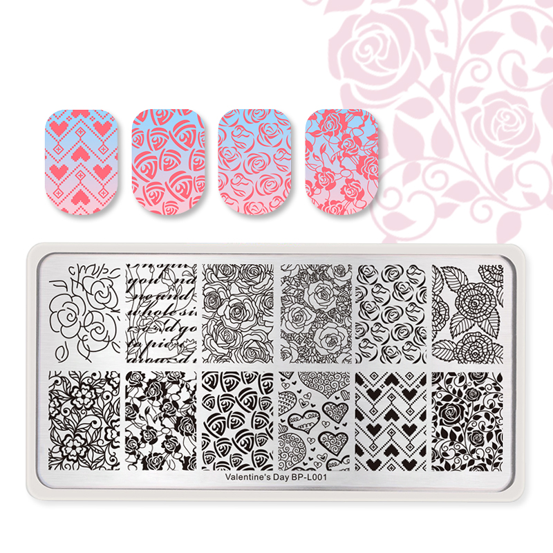 BORN PRETTY Love Heart Flowers Valentine's Day Rectangle Stamping Plate DIY Nail Art Stamp Image Plate Nail Stencil Tools