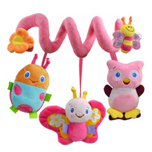 Christmas Soft Musical Animal Bee Pink Hanging Toys Plush Crib Bed Car Hanging Hand Rattles Baby Toys Girl Boy Gift Toys