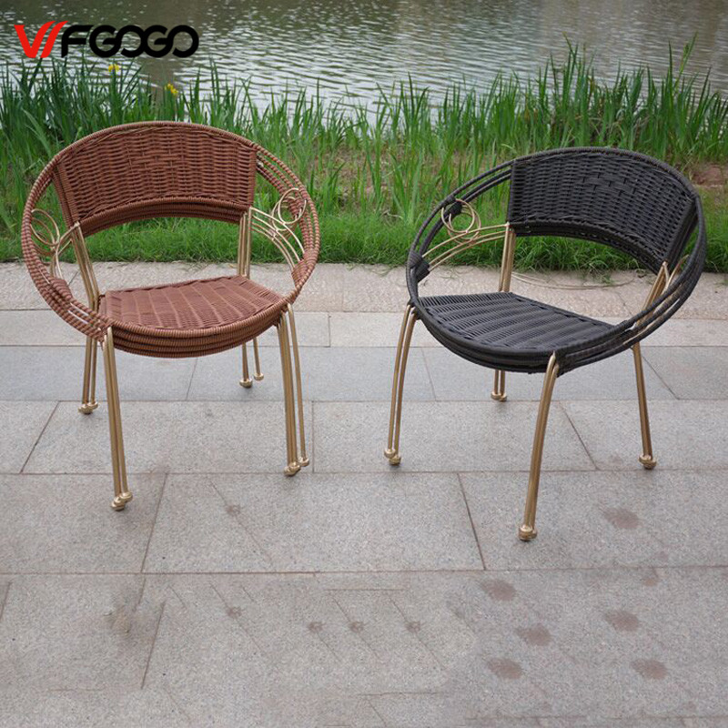 WFGOGO Furniture Rattan Indoor-Outdoor Restaurant Stack Small Chair Armchair All Weather Outdoor Patio Garden Chairs<br>
